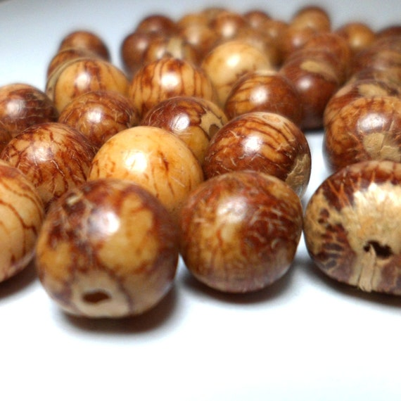 Acai Beads - Natural Seed Beads Natural Tan and Brown 30 Pieces