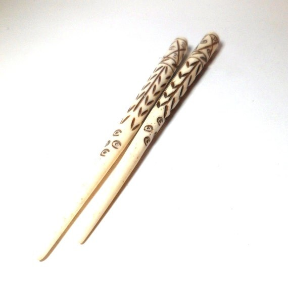 Hair Sticks for beading 4 1/2 inches Carved Bone Top Drilled set of two