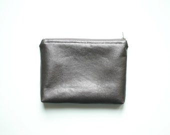 Metallic dark Bronze Vegan Leather small Clutch Cosmetic bag