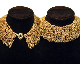 Wire crochet necklace, bridal gold tone collar, choker, peter pan collar, wire mesh necklace