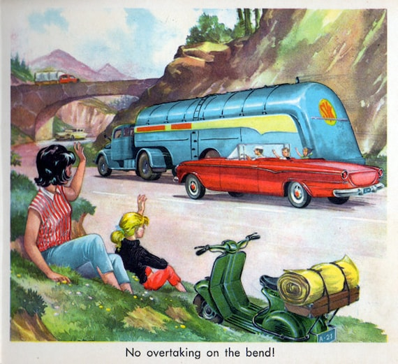 1950s Transport Book Mid Century Children's Illustration Home Decor Cars Trucks