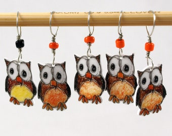 owl stitch markers, whimsical set of 5, snag free