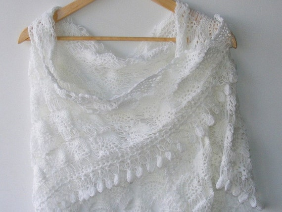 white wedding shawl, women hand crocheted shawl ,fall fashion ,woman ,stole ,wrap, white scarf