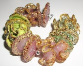 50% Off Lampwork Glass Beads   -Rose Scented -  Ruffle disk set