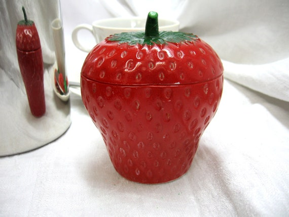 Vintage Strawberry Shaped Milk Glass Covered Sugar Dish