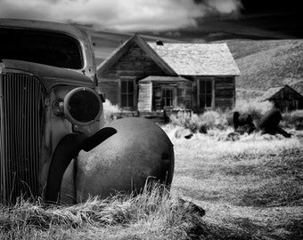 Black and white Fine art print of a car in the ghost town of Bodie, california
