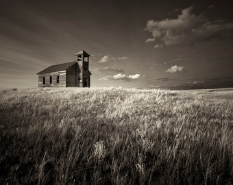 fine art black and white sepia print of an abandon church in a Montana ghost town
