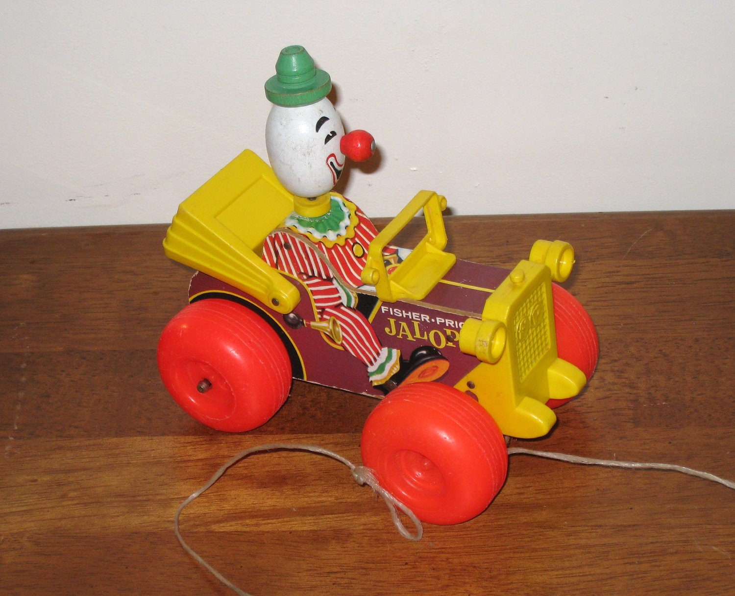 1960s jalopy fisher price pull toy with clown for Clown fish price