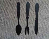 "Knife Fork Spoon Wall Sign 24"" Set of 3 -  Kitchen, Home Restaurant Decor Metal Wall Art"