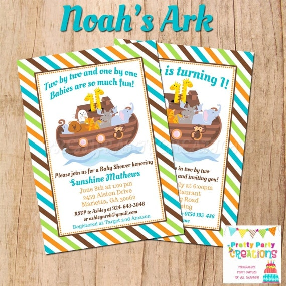 NOAH39;S ARK baby shower/birthday invitation  YOU Print by Pretty Party