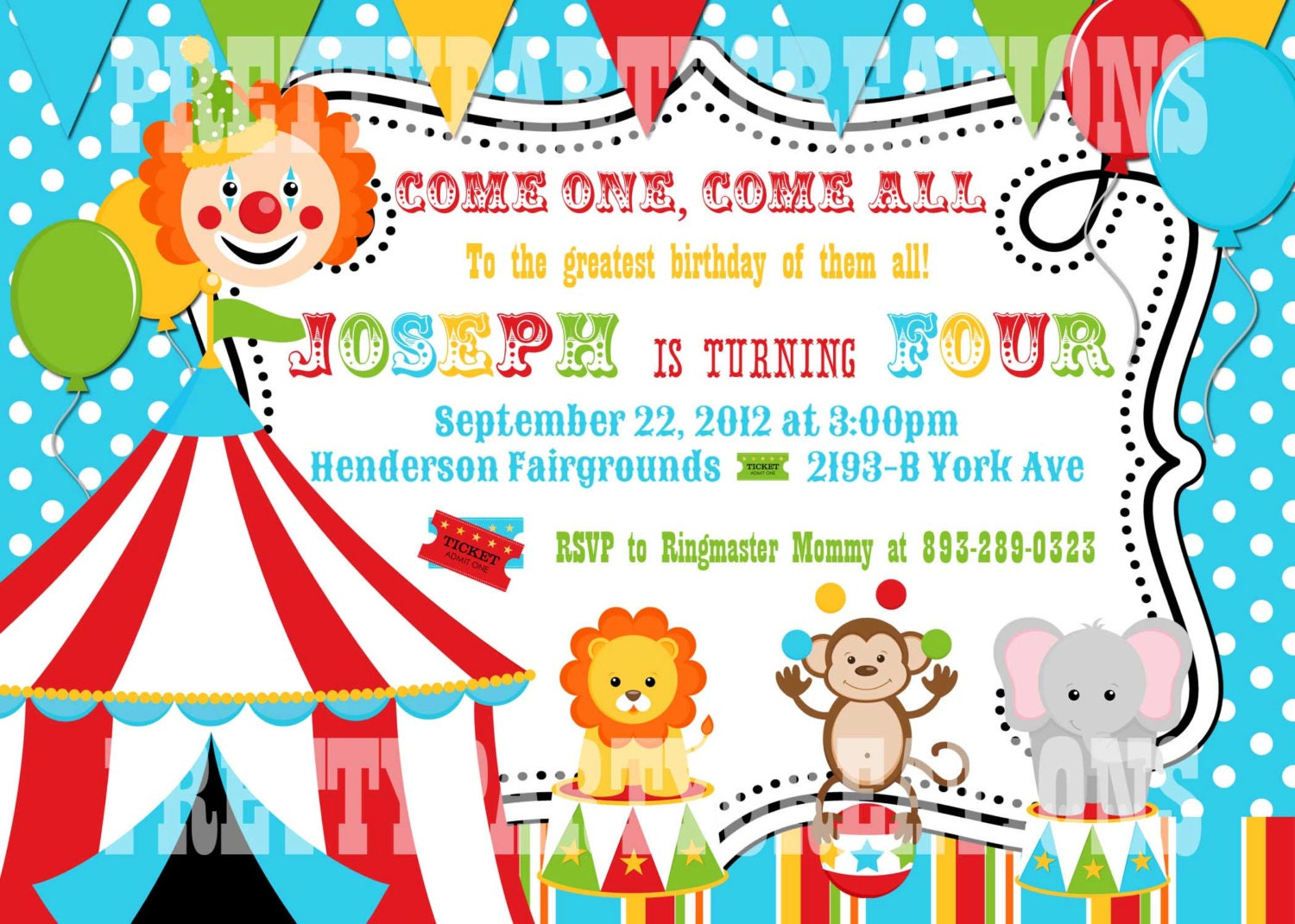 Colorful CIRCUS birthday invitation YOU PRINT digital file