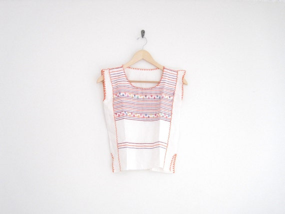 vintage white embroidered mexican blouse