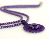 Crocheted  Necklace Purple Glass Pearl OOAK Boho Minimalist Grapes Eggplant Circle Unique Jewelry