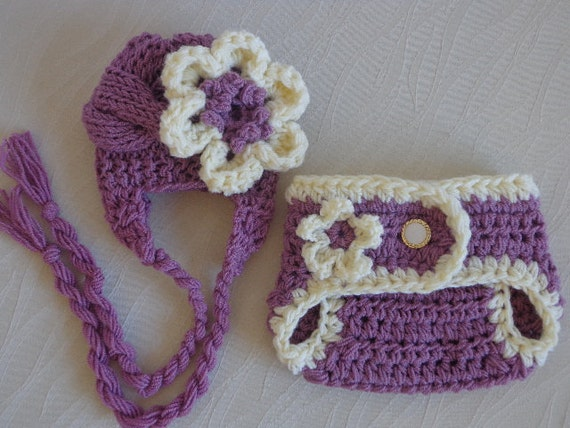 Baby Hat and Diaper Cover Set, Crochet Diaper Cover and Hat Set, Baby Girl Hat and Diaper Cover, Newborn Diaper Cover and Hat