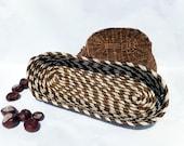 Large Sisal Oblong Coiled Bread Basket - Caramel Stripes