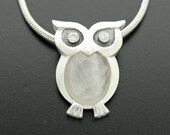 sterling silver owl with rose quartz and zirconia