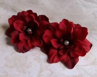 Red Shoe Clips - Flower Shoe Clips - Wedding Shoe Clips