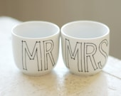 mr. and mrs. upcycled ceramic shot or sake glass - black and white - set of two (2) ready to ship