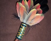 Smudge Fan- Relaxing Poppy - Sacred Prayer Fan with Selenite Crystal and Red Branch Handle