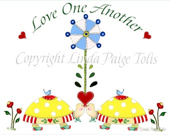 Twins Baby Nursery Personalized Art Print - Kids Nursery Decor Scripture Art Print Love One Another Art
