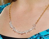 Clear Crystal Necklace Gold Quartz Crystal Necklace Crystal Bridal Necklace Gold Crystal Necklace on Gold Plated Chain