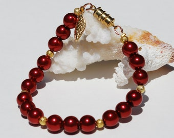 Burgundy Red Pearl Bracelet Gold Magnetic Bridesmaid Gift