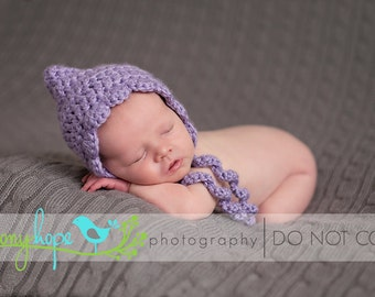 Crochet Bonnet with Shell Edge Pixie Hat Baby Photo Prop