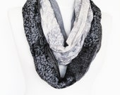 Multicolor Cotton Long Scarf,  Gray / Black,  Unisex Scarf, Gift