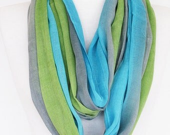 Multicolor Cotton Scarf, Long Scarf, Unisex Scarf, Gift, Green / Blue / Gray, Fashion