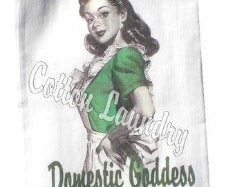 "Hostess Gift - Tea Towel-Christmas Gif -Christmas Party Gift -Hostess Kitchen-Teacher-""Domestic Goddess"" Choose your maid color"