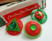 Christmas Brooch Set, Gifting Trio, Retro Christmas, Vintage Christmas, Retro Pins, Red Green, Christmas Gift, Holiday Gift, Retro Jewelry