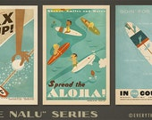 Hee Nalu Surf Series  - 12x18 Retro Hawaii Prints