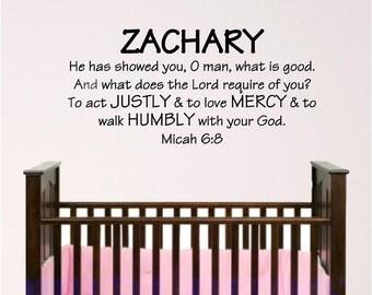 Boy nursery wall decal, wall art, Micah 6:8