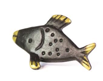 Walter Bosse Fish Figurine - Vintage Mid Century Original Austrian 1960s Brass Fish Miniature