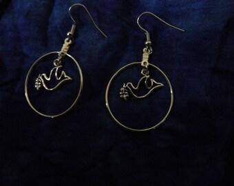 Delicate Silver Dove Hoop Dangle Earrings