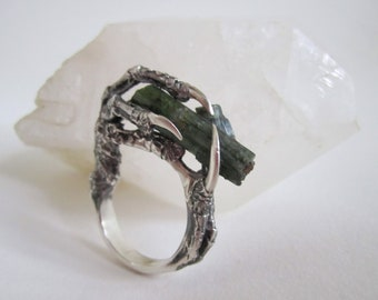 The Hunted - Sterling Silver Crow Claw and Tourmaline Ring