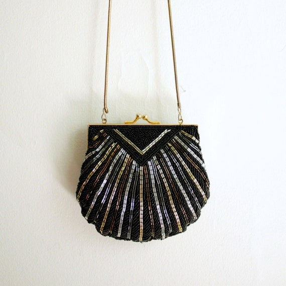 black silver gold beaded chain evening bag
