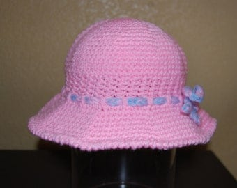 Girl's Crochet Sun Hat Pink with Drawstring adjustment Ages 5-12