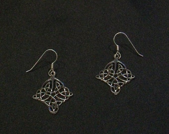 Fancy Celtic Knot Earrings with Sterling Silver Earwires