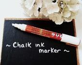 Chalk Ink Marker Pen for Chalkboard - White Chalk Pen for Blackboard - Wet Erase 6mm Chisel Tip