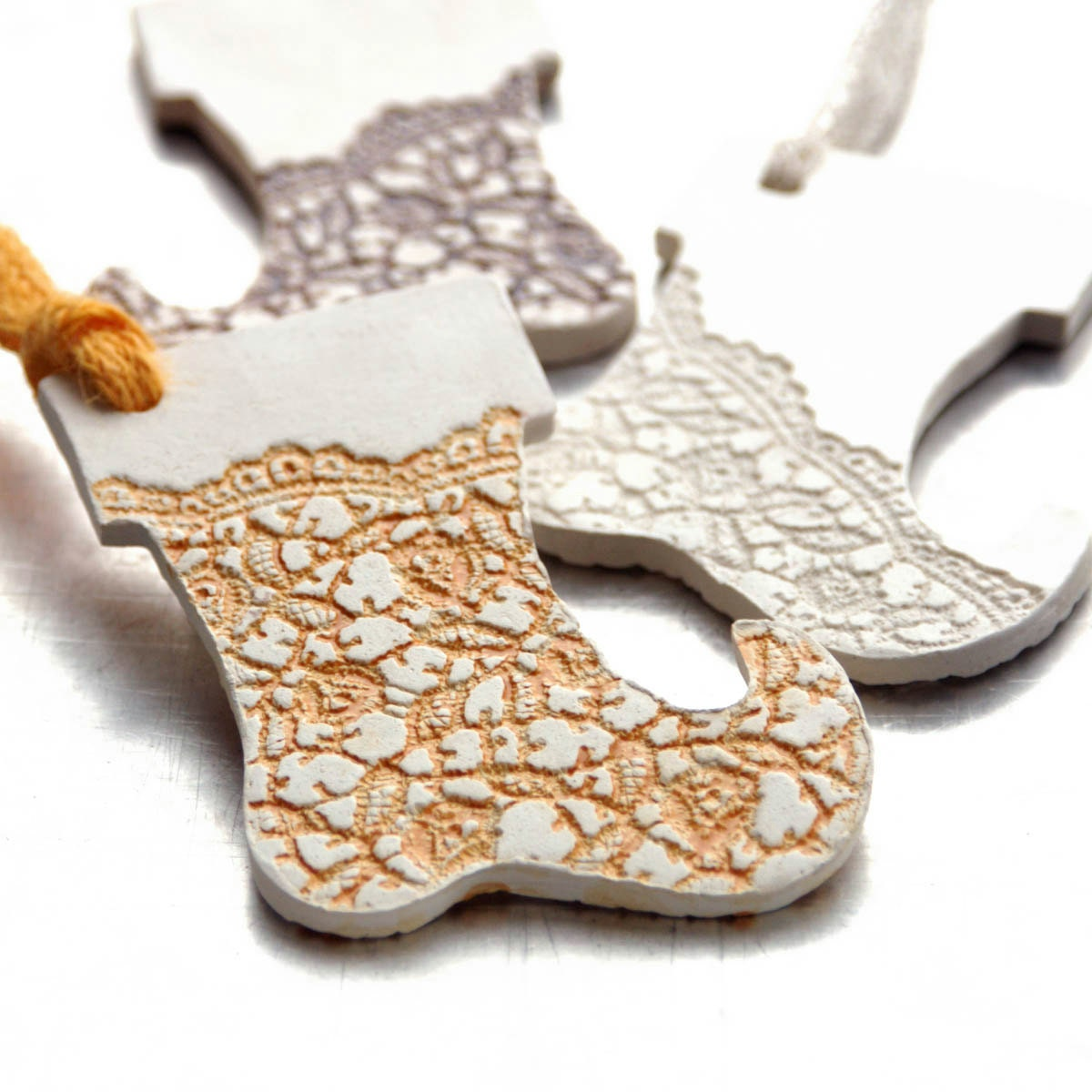 Ceramic ornament with lace impression christmas holiday