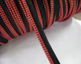 Red Gold Black Pillow Trim piping cord lip cord welting - 2 yards