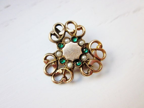 Antique Brooch Edwardian Victorian Gold Filled Green Glass Pearls Love Knot Vintage 1900s Jewelry