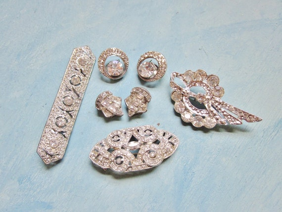 Art Deco Rhinestone Brooch Shoe Clips ALL Wear or Upcycle Assemblage Vintage Destash Lot 1930s Jewelry