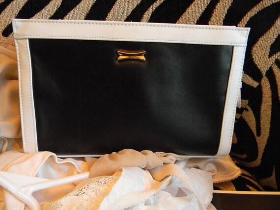 Rare Find Contemporary Black and White Square clutch handbag /Genuine Cowhide Leather /ladies vintage MOD  1960s purse