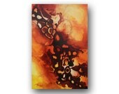 Orange Painting Large Abstract Painting Original Painting on Canvas Unique Wall Art Fluid Painting 36x24 by HEATHER DAY Original Paintings