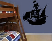 Wall Decal - Pirate Ship Silhouette - Boys wall art wall decals