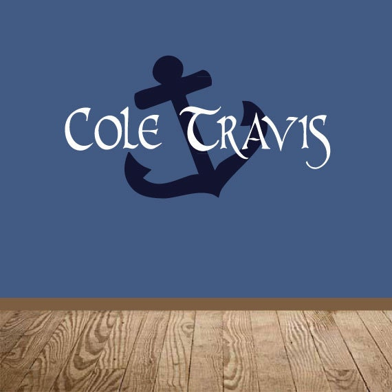 Wall Decal - Nautical Anchor Monogram Silhouette - Boys room wall art wall decals