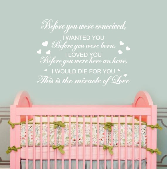 Vinyl Wall Art Quotes For Nursery : Nursery wall decals decor before by