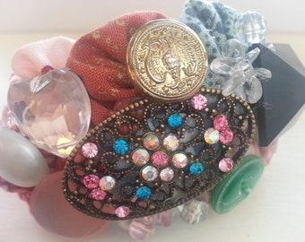 Feminine Collage Cuff Bracelet